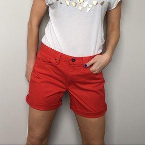 Red Calvin Klein Mom Jean Shorts